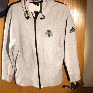 Adidas black hawks jacket hoodie men's M Grey.